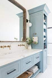 Blue Sink Vanity With White Trough Sink Transitional Bathroom