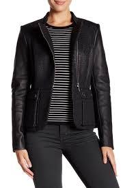 barbourlong leather sleeve jacket
