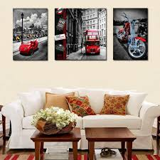 3 pieces vintage city street bus car motorcycle canvas painting modern wall art prints picture home on vintage wall art canvas with 3 pieces vintage city street bus car motorcycle canvas painting