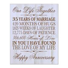 35th wedding anniversary wall plaque gifts for couple custom made 35th anniversary gifts for her