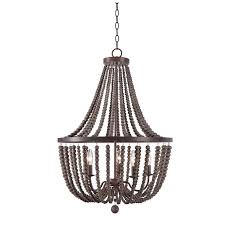 zander gray wood beads dd 5 light chandelier