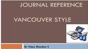 Journal Reference Vancouver Style