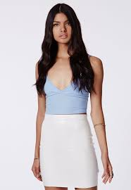 missguided rica faux leather con mini skirt in white