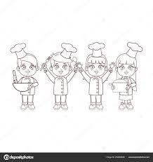 Lo Chef Linee Marrone Cartoni Animati Per Bambini Vettoriali Stock