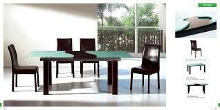 marvelous green top rectangle modern dining table with black armless upholstery dining chairs on white floor tile in open views dining room decors