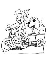 Kleurplaat Jongen Op Zijn Fiets Hond Kleurplatennl