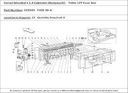 ferrari part number 125243 fuse 20 a 2007 Maserati Quattroporte Fuse Box Location ferrari part number 125243, fuse 20 a , shown here as used in a ferrari mondial 3 4 t cabriolet (bodywork table 127 fuse box) 2007 Maserati Quattroporte Executive GT
