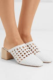 loq womens ines woven leather mules white