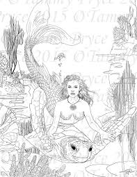 Fantasy Mermaid And Turtle Adult Coloring Page Digi Stamp Instant