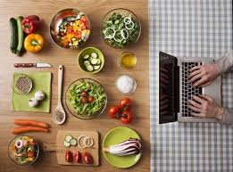 kitchen table with food. Interesting Food Stock Photo  Vegetarian Healthy Food Preparation At Home On Kitchen Table  With Hands Typing A Laptop The Right Top View To Kitchen Table With Food