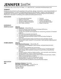 Chemist Resume Extraordinary Chemist Sample Resume Free Letter Templates Online Jagsaus