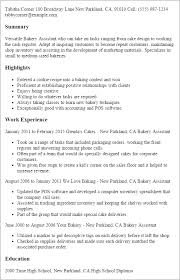 baker cv resume template baker resume sample complete collection of sample