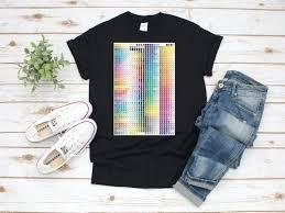 Womens Pantone Color Chart Eco Printed T Shirt Gildan