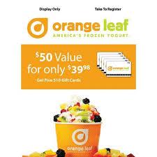 sam s club orange leaf frozen yogurt gift card promotion 50 gc for