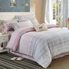 pale pink and gray stripe print girly simply chic soft full queen size bedding sets for girls