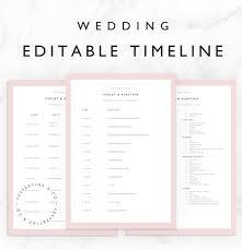 Wedding Schedule Wedding Timeline Template Bridal Wedding Day Schedule Etsy