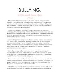 short argumentative essay on bullying dissertation results  how to write an essay in school and college nobullying bullying