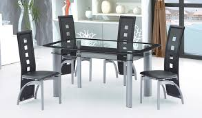 Best Quality D Pcs Black Gray Glass Top Dining Table Chair Set - Best quality dining room furniture