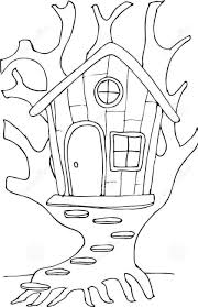 Fairy Tree House Coloring Pages 840 X 1300 8232 Kb
