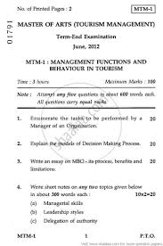 management functions and behaviour in tourism  management functions and behaviour in tourism 2012 hospitality and tourism tourism management masters