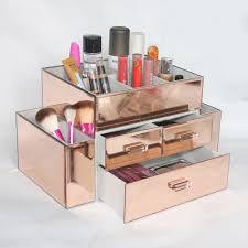 New Wholesale Custom Beauty Glass Large Mirrored Makeup Organizer, Rose  Gold Glass Jewelry Box,