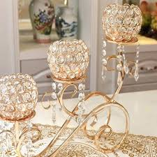 metal centerpiece candle holders 5 arm crystal chandelier gold metal horizontal table standing candelabra wedding centerpiece candle holder home decor ideas