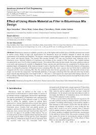 Bitumen Sand Mix Design Pdf Effect Of Using Waste Material As Filler In Bituminous