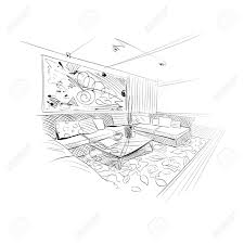手描きのリビング ルームのインテリア スケッチ デザインベクトル図