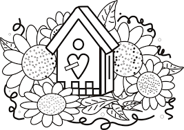 Small Picture Sunflower coloring pages with a house ColoringStar