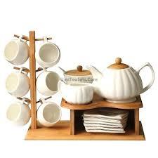 tea set holder bamboo cup holder white ceramic tea set russian tea glass holder set tea
