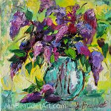 lilacs palette knife contemporary impressionist painting