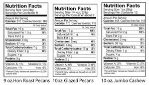 nutritional facts hon roast pecans glazed pecans jumbo cashews