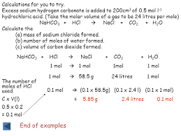 calculations from balanced equations 2 end of examples calculations for you to try excess sodium hydrogen carbonate