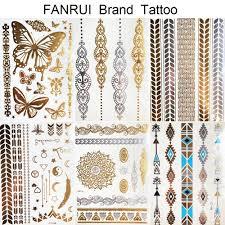 золотой металлический браслет временные татуировки хна мандала цветочницы