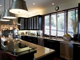 contemporary kitchens with dark cabinets. Light Gray Paint Colors In Kitchen With Dark Cabinets Glass Countertops And Bucket Pendant Lighting Fixtures Contemporary Kitchens