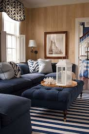 Living Rooms With Ottomans New Furnitures Traditional Living Room With Dark Blue Sectional Sofa