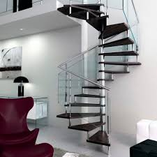 Square spiral staircase / wooden steps / stainless steel frame / without  risers - VOLUTED Q-GLE-JR2-NS