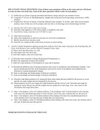 bio essay questions exam