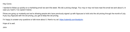 how to email your customers about a price increase and spur personal follow up re warm s email