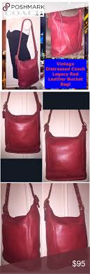 VTG Distressed Coach Legacy Red Leather Bucket Bag