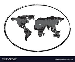 Black Grunge Earth Map Stamp Style Symbol 1 Vector Image