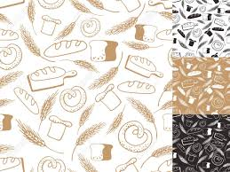 Vintage Retro Bakery Seamless Pattern Setcolored Hand Sketched