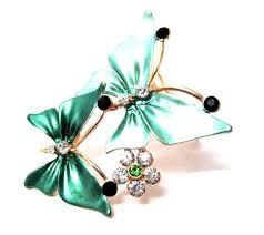 scarf clip twin erfly green enamel rhinestone sca3069