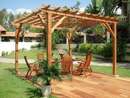 Exterior:Captivating Wooden Pergola Design Ideas With Wooden Deck And  Outdoor Dining Table Plus Hanging