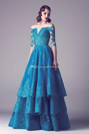 2017 Hunter Blue Layer Lace Mother Of The Bride Dresses For