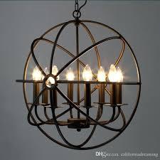 large globe chandelier 4 6 8 head globe chandelier lighting restoration vintage pendant lamp iron orb