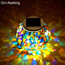 Us 17 22 34 Off Solar Powered Mosaic Glass Ball Garden Lights Waterproof Outdoor Solar Lawn Light Colorful Changing Yard Balcony Lamps In Solar