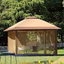 Solar Lights Gazebo Canopy 12 X 12 Outdoor Gazebo Canopy With Mosquito Netting And Solar Led