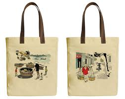 image is loading hanoi vietnam beige printed canvas tote bags leather