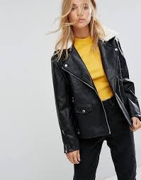 bershka faux leather long line biker jacket i14r9 for women